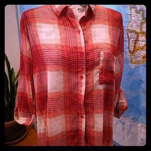 Plaid Poetry Sheer Button Front Top